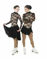New Ice Dance Skating Dress Elite Xpression 1416 Long Skirt BLACK LACE CXL 12-14