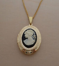 "Black Oval Shaped Cameo Locket, Pendant on a 18"" Long Gold Plated Chain"
