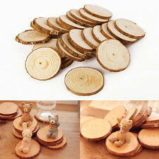 25 Pcs Round Natural Rustic Wooden Discs with Bark Surround DIY Wedding Crafts