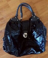 Large ESPRIT black round hobo bucket 'laquered' bag tote handbag