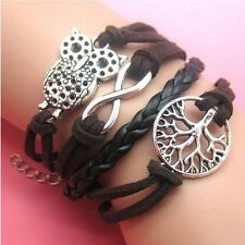 NEW Hot Infinity Love Anchor Leather Cute Charm Bracelet plated Silver DIY SL59C