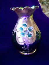 4 POLLICI/veneziana. Murano glass/Luminoso Verde/Oro/Floreale/4 pollici Vaso