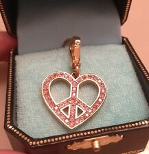 NIB, JUICY COUTURE CHARM, PINK PAVE PEACE SIGN HEART CHARM, w/Amazing Spatkle