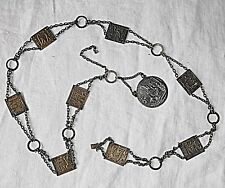 ANTIQUED METAL BELT CHAIN WITH FIGURES STAMPED SQS & MEDAL BOHO HIPPY FESTIVAL