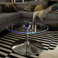 Glass Coffee Table LED Lighted Round Cocktail Living Room Furniture Chrome New