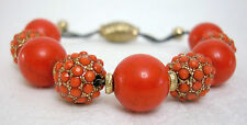 Disco Ball Shamballa Style Adjustable Russian Gold Colors Choice Coral/Turquoise