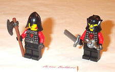 Lego Minifig Castle 2 Dragon Knight Soldiers Cheek Helmet 70404 Sword Axe Flail