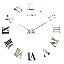 DIY 3D Wall Clock Roman Numerals Large Mirrors Surface Luxury Big Art Clock EW