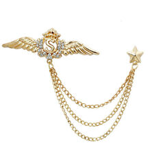 Crystal Wing Star Lapel Pin Men Suit Shirt Corsage Collar Chain Brooch Gold