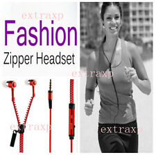 Zipper Style In-Ear Zip Hands-free Headphones Earphone w/Mic-controls in Red exp