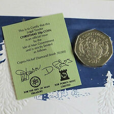 ISLE OF MAN 1993 CHRISTMAS DIAMOND FINISH PROOF 50 PENCE - sealed/coa