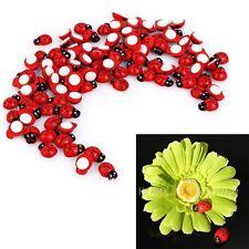 100Pcs Wooden Ladybird Ladybug Sticker Adhesive Fridge Party Decorating Craft