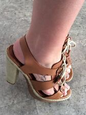 "Soft Tan  Leather Rope Lace Up Strap Sandals With  a 5"" Chunky Rustic Heel Uk 6"