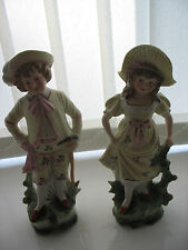 Pair of Boy and Girl Bisque figures Victorian Dated c1875