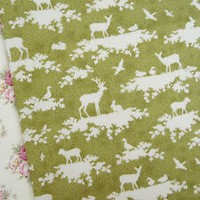 Tilda Autumn Tree Forest Green Fabric / quilting deer stag rabbit lamb olive