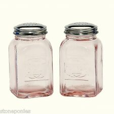 Pink Depression Style Glass Salt and Pepper Shakers Embossed Retro - New