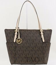 Michael Kors Jet Set Item EW Top Zip Tote MK Signature PVC Brown Handbag Bag New