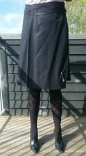 BURBERRY Black Kilt Skirt Wrap Around, Pleated 100% Wool Leather Strap