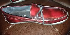 NEW DONALD J  PLINER SIZE 8M BURGUNDY LEATHER TIE LOAFER DRIVER