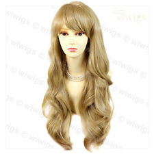Sexy Beautiful Layered wavy Golden Blonde Long Lady Wig Skin Top from WIWIGS UK
