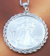 Sterling 925 Diamond Cut Rope Edged Pendant Necklace Silver Dollar Eagle Coin 16