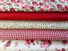 Fat Quarters Fabric Bundles Craft Floral Bunting Gingham Rose Sew COSMOPOLITAN
