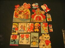 Vintage lot of 15 Valentine's Day Cards 30's-70's used