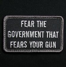 FEAR THE GOVERNMENT GUN US ARMY USA MILITARY SWAT HOOK & LOOP MORALE PATCH