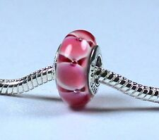New! 925 Sterling Silver Core Pink European Bracelet Murano Glass Bead Charm
