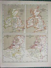 1875 ANTIQUE HISTORICAL MAP ~ BRITISH ISLANDS 8th CENTURY ~ NETHERLANDS HOLLAND