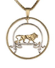 "Lion, African Pendant & Necklace. African Coin Hand cut - 1""diameter ( # 576 )"