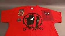 "Deadpool Lot. ""Let's Dance"" Red XL. T-Shirt. Tee. Keychain. Button. Graphic"