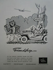 8/1956 PUB FOKKER F27 FRIENDSHIP AIRLINER JEEP SAFARI LION HUNT ORIGINAL AD