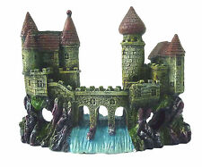 2 Castles & Waterfall Bridge Aquarium Decoration Fish Tank Cave Ornament