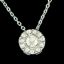 w Swarovski Crystal Chic Circular Simple Everyday Round Circle Pendant Necklace