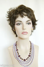 Short Natural Looking Wavy Sophisticated  Layered Wig Flipped Ends