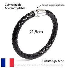 Bracelet Cuir Noir Tressé Acier Inoxydable Homme Femme Mixte Tendance Cadeau Top
