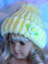 """**SALE** YELLOW w/DAISY Knitted DOLL CAP HAT fits 18"""" AMERICAN GIRL Doll Clothes"""