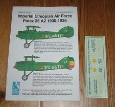 1/72 scale DECALS - POTEZ 25 A2 - ETHIOPIAN AIR FORCE 1930-1936  - BLUE RIDER