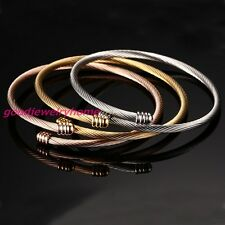 Tri-Color Gold Silver Rose Gold Stainless Steel Women's Cuff Bracelet Set 3PCS