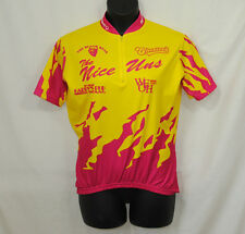 Revi Womans Large Cycling Jersey Pink Yellow Quarter Zip Logos The Nice Uns