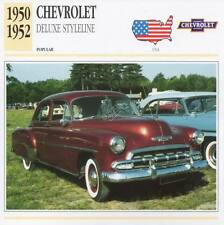 1950-1952 CHEVROLET DELUCE STYLELINE Classic Car Photograph / Info Maxi Card