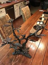 """Vintage Bronze Sculpture 18"""" Tall Tropical Tree With Parrot 14lbs Unsigned"""