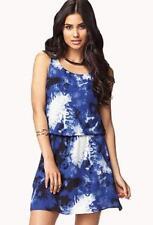 NWT Forever 21 BLUE White Cowl Back Drape Splatter Sleeveless Georgette Dress S