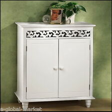 White Cabinet Bathroom Furniture Storage Cupboard Wooden Bedroom Shelf Doors