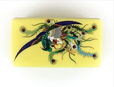 Japanese Cloisonne box with exotic bird / fighting peacock or phoenix, c1910