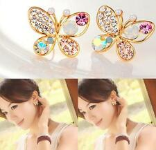 Sweet Korea Women Crystal Rhinestone Hollow Out Butterfly Ear Stud Earrings New
