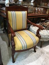 Magnificent Early 19th C Mahogany French Empire Dolphin Open Arm Chair Paw Feet