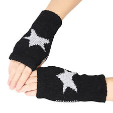 Men Women Winter Warmer Star Knitted Mittens Fingerless Arm Glove
