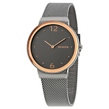 Skagen Freja Smoke Dial Grey-tone Steel Mesh Ladies Watch SKW2382